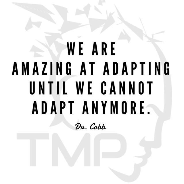 we are amazing at adapting until we cannot adapt anymore