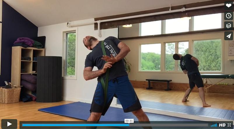 banded lumbar circles for core exercise