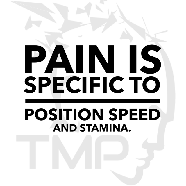 pain is specific to position speed and stamina
